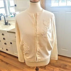 Vintage 1950s Hand Beaded Ivory Cardigan Sweater